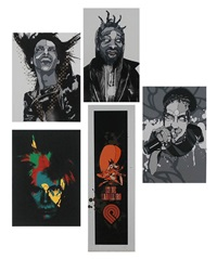 louis vuitton smile; singer; man with mask and hoodie; warhol; [5] steve caballero (9 works) by david flores